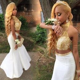 White and Gold Two Pieces Prom Dresses 2017 High Neck Beaded with Rhinestones Mermaid Evening Party Gowns Formal Dress