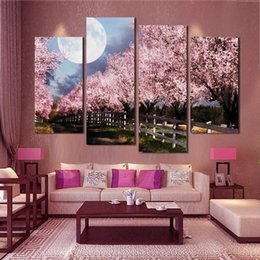 4 Piece Unframed Sakura Wall Art Picture Printed Canvas Oil Painting by Numbers High Quality Home Decal Modular wall paintings