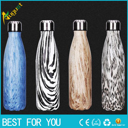 Wholesale New hot ml Stainless Steel bottle Bowling sport drinking Water Bottle Vacuum Bottle Coffee Cup Wood Grain Cup as christmas gift