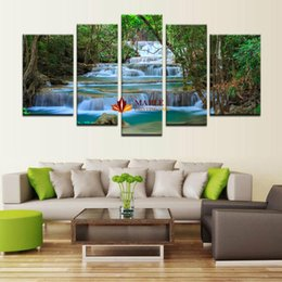 5 Panel Canvas Art Waterfall Painting Modern Painting Home Decoration Living Room Wall Decor Canvas Print Painting-Modern Painting On Canvas