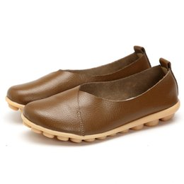 plardin 2017 Handmade Leather Women plus size Sewing Flats Moccasins Loafers ballet flats women Comfortable soft Casual Shoes