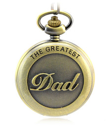 Wholesale Antique Bronze Dad Pattern Quartz Pocket Watch with Necklace Fob Watch Father s Day Gift Father s Day PW080