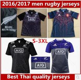 Франция человек Онлайн-Лучшие Тайские качества Новые 2016 года в Новой Зеландии трикотажные изделия регби 2016 года 2017 мужчин лучше всего Франция регби рубашки размер S-3XL
