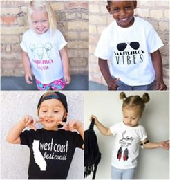Wholesale Kids clothing Baby Boys Girls Letters T shirt Top White t shirts short Sleeve New INS Casual Summer clothes high heeled ice cream