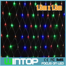 Promotion rgb led net Vente en gros-110V / 220V 1.5M * 1.5M 120pcs LED Net Light conduit des feux de Noël de cordes guirlandes RGB / blanc / bleu / blanc chaud 8Modes pour vacances / Party