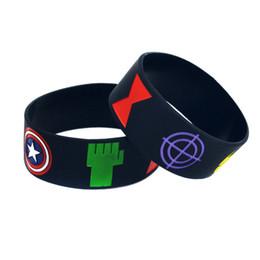 50PCS Lot The Avengers Silicone Wristband Bracelet With Captain America Iron Man Thor Hulk Black Widow Eagle Eye