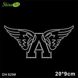Free shipping angel Rhinestones iron on crystal transfers design hot fix rhinestone motif transfer on design DIY DH829#