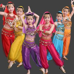 4 pieces Children Belly Dance Costumes Kids Belly Dancing Girls Bollywood Indian Performance Cloth Whole Set 6 Colors Free shipping