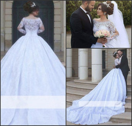 2017 Said Mhamad Ball Gowns Wedding Dresses Long-Sleeves Lace Arabic White Ball-Gown Tulle Jewel Vestido De Novia Romantic Bridal Gowns
