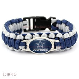 Wholesale Pieces Dallas Football Team Cowboys Paracord Survival Friendship Outdoor Camping Sports Bracelet Navy Blue Silver Cord