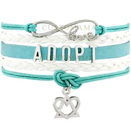 Wholesale Custom Infinity Love Adopt Heart Charm Multilayer Wrap Bracelet Best Gift For Turquoise White Leather Adoption Bracelet