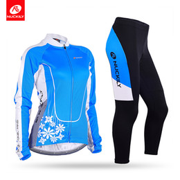 Nuckily Women outdoors Winter Thermal Fleece Cycling Jersey Set cycling Fleece Jersey Jacket cycling Padded Fleece Pants GE004GF004
