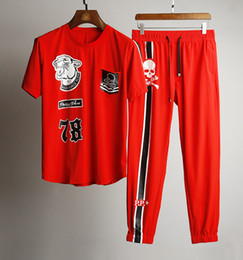 classic black and red Cool tracksuit training suits~tiger and skull decoration~ men s casual sweat jogger tracksuits gym clothing