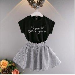 Kids 2017 Summer New Girls Korean Fashion Short Sleeve T-Shirt + Grip Striped Skirt Short Skirt Two-piece Set