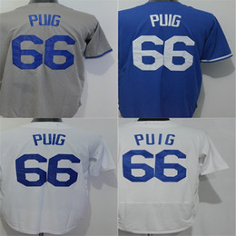 Newest Arrival Los Angeles 66 Yasiel Puig Mens Womens Kids Toddlers Jersey White Grey Blue Coolbase Cheap Baseball Jerseys Top Quality