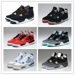 Wholesale 2017 Retro IV Basketball Shoes cement Bred Black Gold White ROYALTY Top quality Mens BRED s Sport Sneakers With Shoes Box