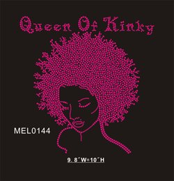 Hot pink Queen of Kinky gril stock hot fix rhinestone transfer (30piece bag)