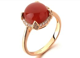 Wholesale ring The latest alloy high quality red pink stone inlay zircon ring two color optional women jewelry accessories