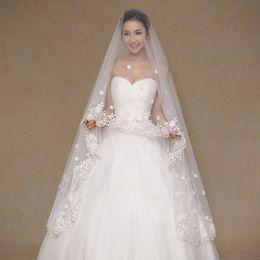 In Stock 2017 Real Photos Ivory Wedding Veil 3m Long Lace Appliques Mantilla Bridal Veil Wedding Accessories Veu De Noiva