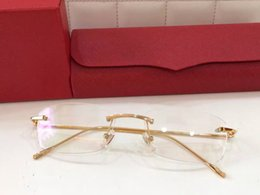 Франция человек Онлайн-люксовый бренд очки Prescription T0006 Rimless золотой раме леопарда животных логотип оптический для мужчин дизайн прозрачное стекло сверхлегкого франция дизайнера