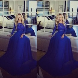 Wholesale Cheap Elegant Dresses Sleeves - Elegant Lace 2015 Evening Dresses Crew Neckline Lace Long Transparent Sleeve A Line Chiffon Royal Blue Floor Length Prom Dresses Cheap