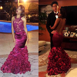 Sexy See Through Backless Prom Dresses African Style Dark Red Handmade Flowers Sequins Appliques Mermaid Evening Gowns Hot Cocktail Dress