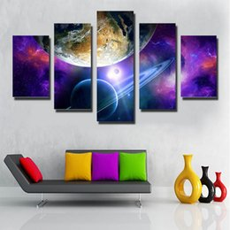 5 Piece No Framed Printed Poster Group Beautiful galaxy Painting Canvas Print room decor picture canvas Free shipping