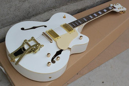 Free shipping-Electric Guitar with Thick White Body,Cream White Pickguard,Gold Hardware and can be Customized