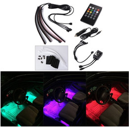 Wholesale Car Interior Light LED Decoration Atmosphere Neon Light Strip Under Dash Light Kit with Sound Active Function Wireless IR Remote Control