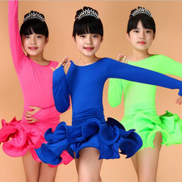 Pink Blue Red Girls Long sleeve Ballroom Latin Dance dress Kids Jazz Performance Costumes competition Party skating dresses Outfits