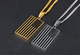Скидка американские собаки Классические мужские Американский флаг США Patriot Freedom Звезды и полосы Dog Tag Прямоугольник ожерелье цепи Серебро Золото Мужские ювелирные изделия