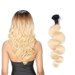 Resika 8A Grade Ombre Brazilian Virgin Hiar Extensions T1b 613 Blonde Colored Curly Hair Weave Unprocessed Human Wholesale Hair Bundles
