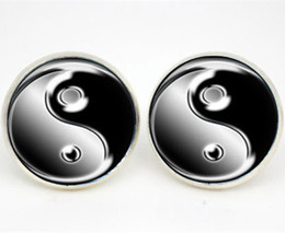 10pairs lot Ying and Yang earrings Posts Glass photo earrings stud post