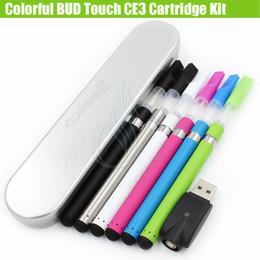 Colorful Bud Touch CE3 Cartridges Gift box Kit Vaporizer 280mAh battery O pen atomizer Vapor WAX thick Oil tank e cigs Vape Pen Kits DHL