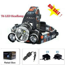 3T6 Headlamp 5000 Lumens 3 x Cree XM-L T6 Head Lamp High Power LED Headlamp Head Torch Lamp Flashlight Head +charger+car charger+retail box