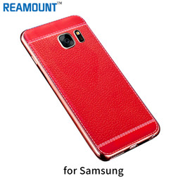 Lichee Pattern Soft PU Leather Case TPU Rubber Electroplating Plating Ultra Slim Thin Back Cover Case for Samsung s6 s6edge s7 s7edge Case