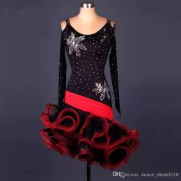 A66 New Adult Latin Dance Dress Salsa Tang Cha cha Ballroom Competition Group Dance Dress 2Color S-XXL Customizable