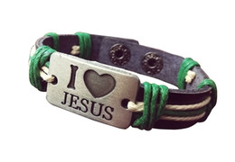 Fashion Style Unisex I love JESUS Genuine Leather Bracelet Antique Silver Animal Pendant Rope Chain Charms Wrap Bracelet For Women Men