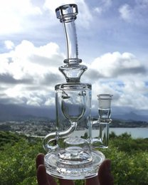 Mothership recycleur en Ligne-Clear Thick Klein Solid Glass Water Pipes Smoking Bong Intérieur Perc Recycler Plate-forme de pétrole Hookahs Shisha Cool Mothership Glass Bong Joint de 14 mm
