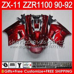 8Gifts 23Colors For KAWASAKI NINJA ZX11 ZX11R 90 91 92 ZZR 1100 21HM9 ZX 11 11R ZZR1100 red black ZX-11R ZX-11 1990 1991 1992 Fairing Kit