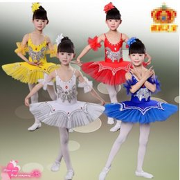 6 colors Kids Girls White Swan Lake Pancake Professional Ballet Tutu Dancewear Girls Dance Costume Performance Ballet Dress Outfits