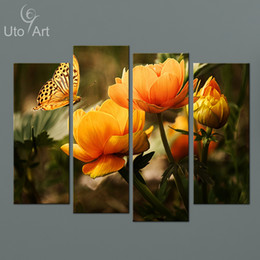 New Cheap Modern Paintings 4 Panel Wall Canvas Flower Painting Modular Pictures on the Wall Art Prints for Living Room Wholesale