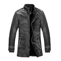 Wholesale Fashion Winter Jacket Men Slim Warm Mens washed Leather Motorcycle Biker Jackets Standing Collar Coat