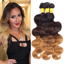 Ombre Brazilian Body Wave 3 or 4 Bundles 1B 4 30 3 Tone Brazilian Hair Weave Bundles Ombre Dark Brown Human Hair Extensions