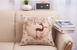 Wholesale Amazon hot Christmas Cushions Cotton linen Home Decor For Car Decor Cushion Christmas pillow case covers Bedroom Sofa by printing pillowcase