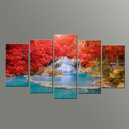 Скидка фотографии панели 5 стеновая искусство Живопись Ландшафтный дизайн Водопад Фото и Red Tree Жикле Печать на холсте для украшения ресторана