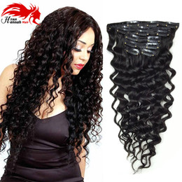 Deep Curly Human Remy Hair Clip in Extensions,Brazilian Hair Clip in Extension,7Pcs set,10-26 Inches in Stock,Color 1B Brazilian Hair