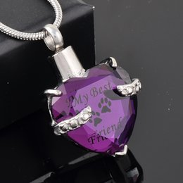 MJD9790 Purple crystal Heart Cremation URN Necklace Jewelry Memorial Keepsake Pendant My BEST Friend Pet Necklace