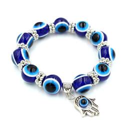 Malos encantos ojo azul en Línea-Pulseras de la perla de la manera para las mujeres Pulsera del encanto de la aleación de la mano de Fatima Pulsera rebordeada de la pulsera del ojo malvado