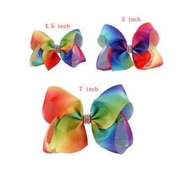 Wholesale 8 Inch Inch quot quot Hair Bow Boutique Large Rainbow Hair Bows Jojo Hair Bow Clip Cute Bows For Baby Girls
